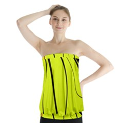 Yellow Decorative Design Strapless Top
