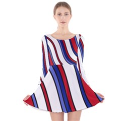 Decorative Lines Long Sleeve Velvet Skater Dress by Valentinaart
