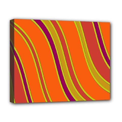 Orange Lines Deluxe Canvas 20  X 16   by Valentinaart