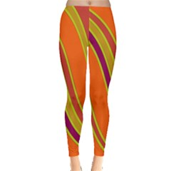Orange Lines Leggings  by Valentinaart