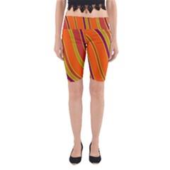 Orange Lines Yoga Cropped Leggings by Valentinaart