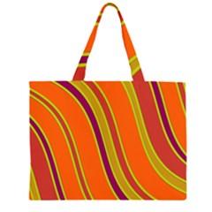 Orange Lines Zipper Large Tote Bag by Valentinaart