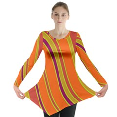 Orange Lines Long Sleeve Tunic  by Valentinaart