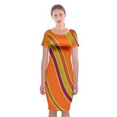 Orange Lines Classic Short Sleeve Midi Dress by Valentinaart