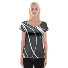 Black And White Elegant Design Women s Cap Sleeve Top by Valentinaart