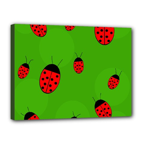 Ladybugs Canvas 16  X 12  by Valentinaart