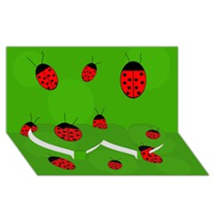 Ladybugs Twin Heart Bottom 3d Greeting Card (8x4)  by Valentinaart