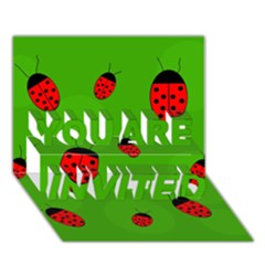 Ladybugs You Are Invited 3d Greeting Card (7x5)  by Valentinaart