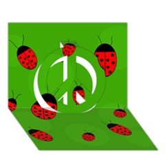 Ladybugs Peace Sign 3d Greeting Card (7x5)  by Valentinaart