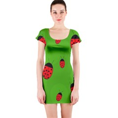 Ladybugs Short Sleeve Bodycon Dress by Valentinaart