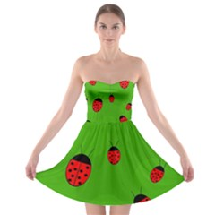Ladybugs Strapless Dresses by Valentinaart