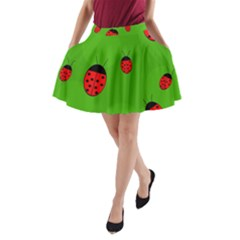 Ladybugs A Line Pocket Skirt by Valentinaart