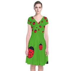 Ladybugs Short Sleeve Front Wrap Dress by Valentinaart