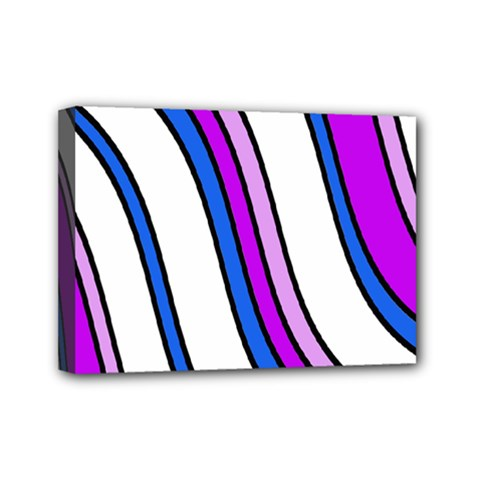 Purple Lines Mini Canvas 7  X 5  by Valentinaart