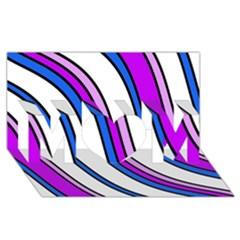 Purple Lines Mom 3d Greeting Card (8x4)  by Valentinaart
