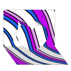 Purple Lines Heart 3d Greeting Card (7x5)  by Valentinaart