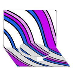 Purple Lines Circle Bottom 3d Greeting Card (7x5)  by Valentinaart