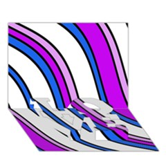 Purple Lines Love Bottom 3d Greeting Card (7x5)  by Valentinaart