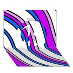 Purple Lines Peace Sign 3d Greeting Card (7x5)  by Valentinaart