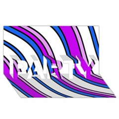 Purple Lines Party 3d Greeting Card (8x4)  by Valentinaart