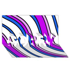 Purple Lines Sorry 3d Greeting Card (8x4)  by Valentinaart