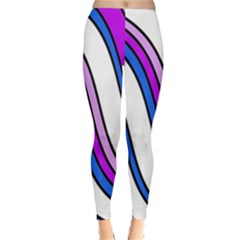 Purple Lines Winter Leggings  by Valentinaart