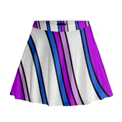 Purple Lines Mini Flare Skirt by Valentinaart