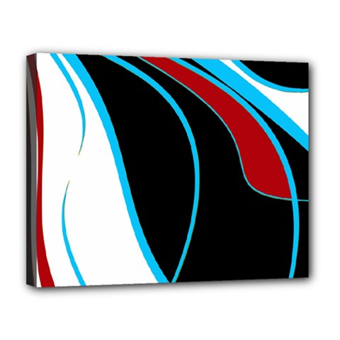 Blue, Red, Black And White Design Canvas 14  X 11  by Valentinaart