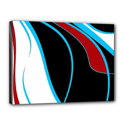 Blue, Red, Black And White Design Canvas 16  X 12  by Valentinaart