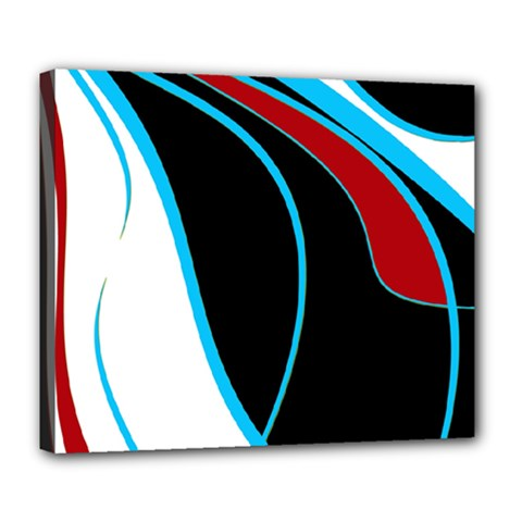 Blue, Red, Black And White Design Deluxe Canvas 24  X 20   by Valentinaart