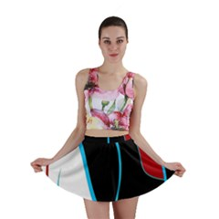 Blue, Red, Black And White Design Mini Skirt by Valentinaart