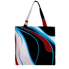 Blue, Red, Black And White Design Zipper Grocery Tote Bag by Valentinaart