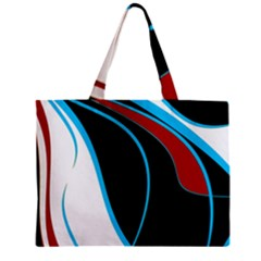 Blue, Red, Black And White Design Zipper Mini Tote Bag by Valentinaart