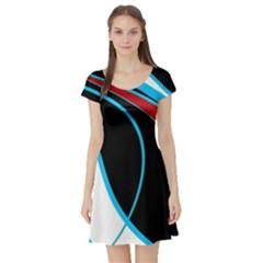 Blue, Red, Black And White Design Short Sleeve Skater Dress by Valentinaart