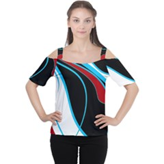 Blue, Red, Black And White Design Women s Cutout Shoulder Tee by Valentinaart