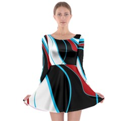 Blue, Red, Black And White Design Long Sleeve Skater Dress by Valentinaart