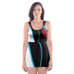 Blue, Red, Black And White Design Skater Dress Swimsuit by Valentinaart