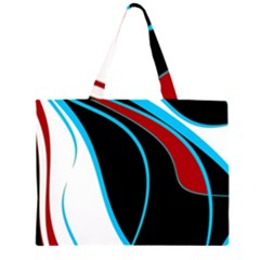 Blue, Red, Black And White Design Zipper Large Tote Bag by Valentinaart