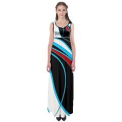 Blue, Red, Black And White Design Empire Waist Maxi Dress by Valentinaart