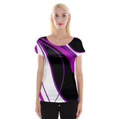 Purple Elegant Lines Women s Cap Sleeve Top by Valentinaart