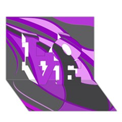 Purple Elegant Lines Love 3d Greeting Card (7x5)  by Valentinaart