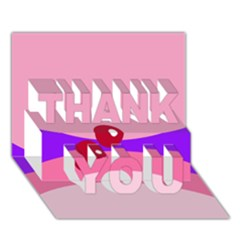 Decorative Abstraction Thank You 3d Greeting Card (7x5)  by Valentinaart