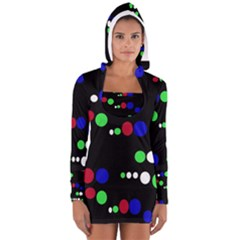 Colorful Dots Women s Long Sleeve Hooded T Shirt