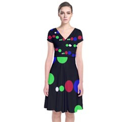 Colorful Dots Short Sleeve Front Wrap Dress