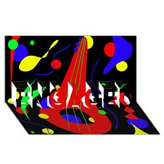 Abstract Guitar  Engaged 3d Greeting Card (8x4)  by Valentinaart