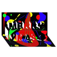 Abstract Guitar  Merry Xmas 3d Greeting Card (8x4)  by Valentinaart