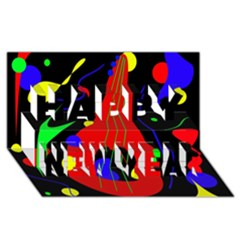 Abstract Guitar  Happy New Year 3d Greeting Card (8x4)  by Valentinaart