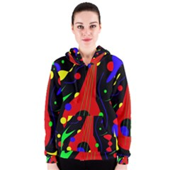 Abstract Guitar  Women s Zipper Hoodie by Valentinaart