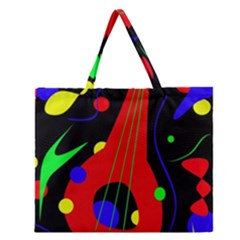 Abstract guitar  Zipper Large Tote Bag