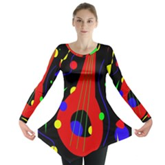 Abstract Guitar  Long Sleeve Tunic  by Valentinaart